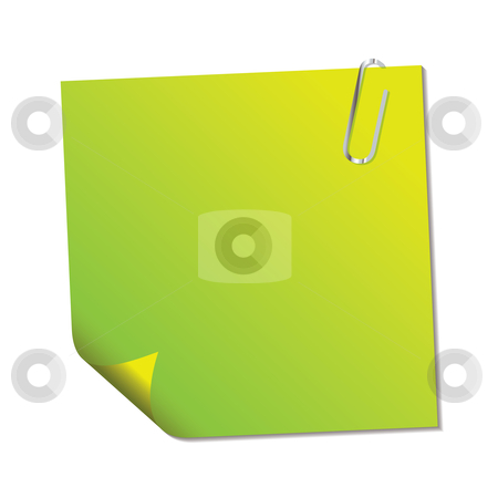 Green sticky note stock vector clipart, Green sticky note with paper clip and shadow effect by Michael Travers