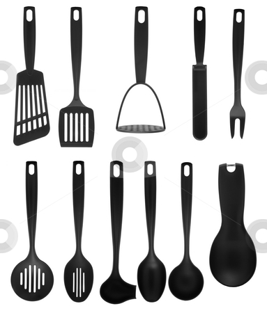 Kitchen utensils stock photo, Kitchen utensil collection isolated on white background. by Homydesign
