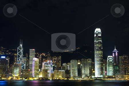 Hong kong at night stock photo, Hong kong at night and modern buildings by Keng po Leung