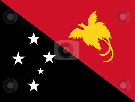 Papua New Guinea flag stock photo, Sovereign state flag of country of Papua New Guinea in official colors. by Martin Crowdy