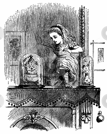 Alice through the looking glass stock photo, Engraving of Alice pushing through the mirror from book by Lewis Caroll,  by Martin Crowdy