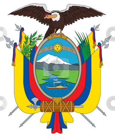 Ecuador coat of arms stock photo, Ecuador coat of arms, seal or national emblem, isolated on white background. by Martin Crowdy