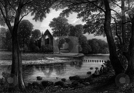 Bolton Priory stock photo, Ruins of Bolton Priory or Abbey with River Wharfe in foreground, North Yorkshire, Enland, Engraved by William Miller, published in