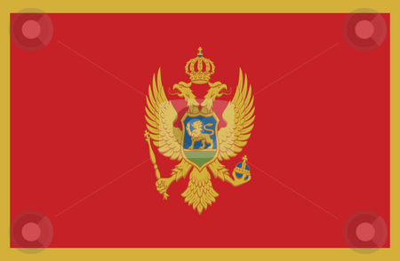 Montenegro Flag stock photo, Sovereign state flag of country of Montenegro in official colors. by Martin Crowdy