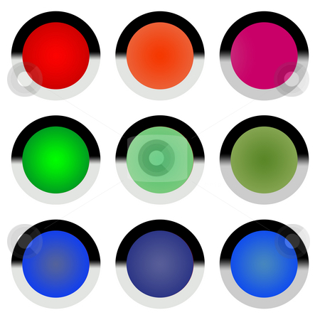 Glossy web buttons stock photo, Set of colorful glossy web buttons isolated on white background. by Martin Crowdy
