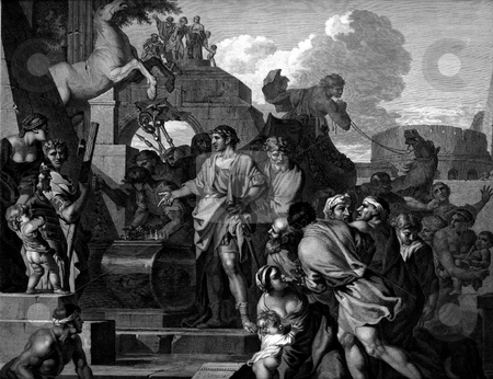 Augustus visiting Alexanders tomb stock photo, Engraving by Fragonard of Augustus (Octavian) visiting Alexander's tomb in Alexandria from original painting by Sebastien Bourdon, circa 1643. Public domain image by virtue of age. by Martin Crowdy