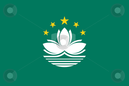 Macau Flag stock photo, Sovereign state flag of dependent country of Macau in official colors. by Martin Crowdy