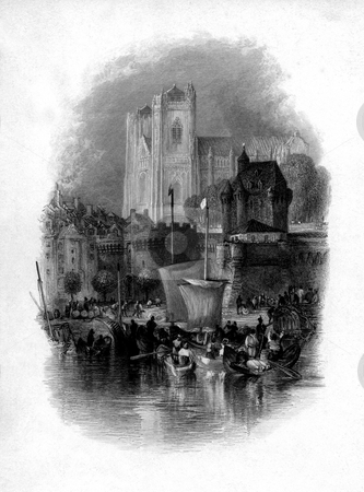Nantes city and Loire river stock photo, Scenic view of Nantes city and cathedral with Loire river in foreground, France. Engraved by William Miller in 1833, public domain image by virtue of age. by Martin Crowdy