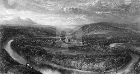 Dryburgh Abbey stock photo, Scenic view of Dyburgh Abbey and river Tweed, Scottish Borders. Engraved by William Miller in 1833. Public domain image by virtue of age. by Martin Crowdy