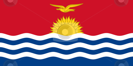 Kiribati stock photo, Sovereign state flag of country of Kiribati in official colors. by Martin Crowdy