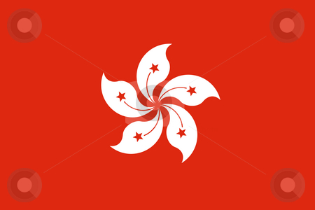Hong Kong Flag stock photo, Sovereign state flag of dependent country of Hong Kong in official colors. by Martin Crowdy