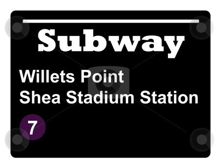 Shea Stadium subway sign stock photo, New York Willets Point Shay Stadium subway train sign isolated on black background. by Martin Crowdy