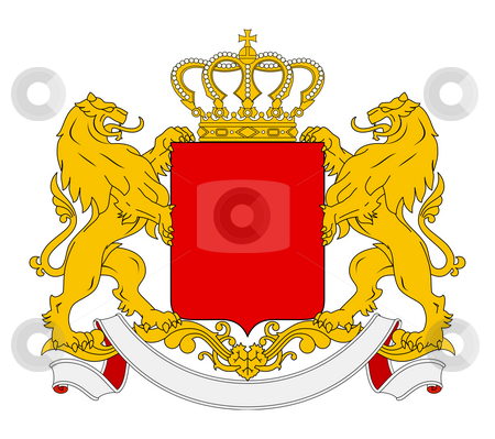 Blank Coat of Arms stock photo, Blank coat of arms, seal or national emblem, isolated on white background. With lions, crown and banner. by Martin Crowdy