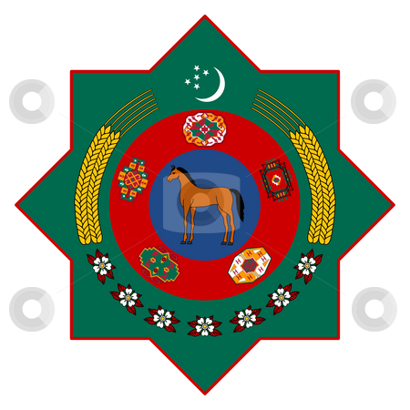 Turkmenistan Coat of Arms stock photo, Tukmenistan coat of arms, seal or national emblem, isolated on white background. by Martin Crowdy
