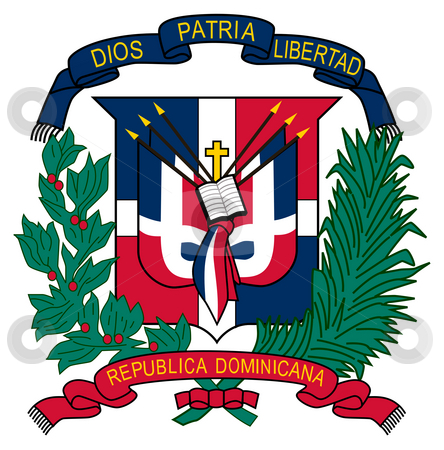 Dominican Republic Coat of Arms stock photo, Dominican Republic coat of arms, seal or national emblem, isolated on white background. by Martin Crowdy