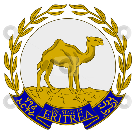 Eritrea Coat of Arms stock photo, Eritrea coat of arms, seal or national emblem, isolated on white background. by Martin Crowdy