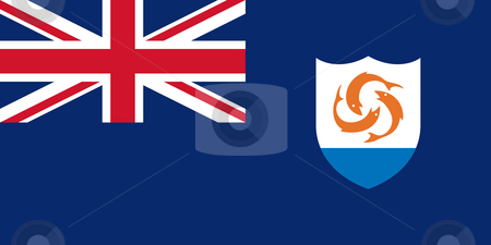 Anguilla Flag stock photo, Sovereign state flag of dependent country of Anguilla in official colors. by Martin Crowdy
