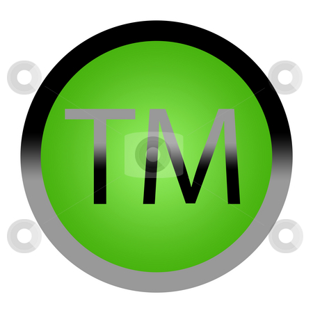 Tademark button stock photo, Green eco trademark button isolated on white background with copy space. by Martin Crowdy
