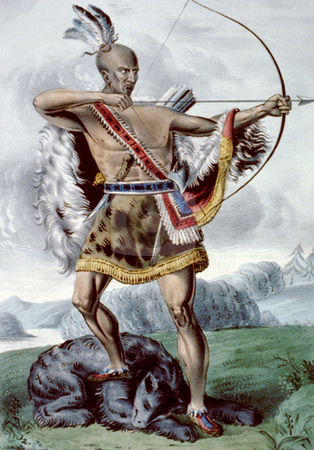 American Indian hunter stock photo, American Indian standing on dead bear with bow drawn back. Hand colored lithograph created and published in New York circa 1845. by Martin Crowdy