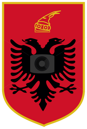 Albania Coat of Arms stock photo, Albania coat of arms, seal or national emblem, isolated on white background. by Martin Crowdy