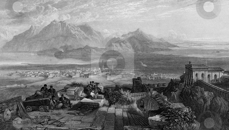 Town and Isthmus of Corinth stock photo, Engraving of town and Isthmus of Corinth, Greece. Engraved by William Miller and published in the Imperial Bible Dictionary 1866. Public domain image by virtue of age. by Martin Crowdy