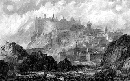 Edinburgh Castle stock photo, Engraving of Edinburgh Castle on Castle Rock, Scotland, Engraved by William Miller after G F Sargent in 1832. Public domain image by virtue of age. by Martin Crowdy