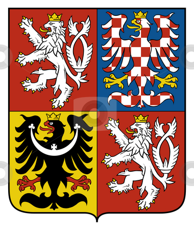 Czech Republic Coat Arms stock photo, Czech Republic coat of arms, seal or national emblem, isolated on white background. by Martin Crowdy