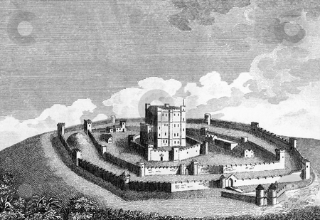 Medieval Castle stock photo, High angle view of medieval castle on hillside. Engraving published in book by Henry Boswell,