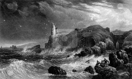 Carrick castle and shipwreck stock photo, Engraving of shipwreck in storm with ruins of Carrick castle, Loch Goil, Argyll, Scotland. Engraved by Wiliam Miller in 1830. Public domain image by virtue of age. by Martin Crowdy