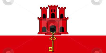 Gibraltar Flag stock photo, Sovereign state flag of dependent country of Gibraltar in official colors. by Martin Crowdy