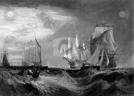 British Royal Navy fleet stock photo, Illustration of British Naval fleet at annual Spithead Royal review. Engraved by William Miller in 1875. Public domain image by virtue of age. by Martin Crowdy