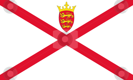 Jersey Flag stock photo, Sovereign state flag of dependent country of Jersey in official colors. by Martin Crowdy