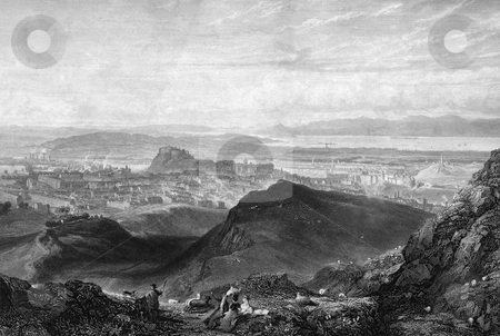 Edinbugh City Scenic stock photo, Edinburgh castle and city viewed from Arthur's seat. Engraved by William Miller in 1826. Public domain image by virtue of age. by Martin Crowdy