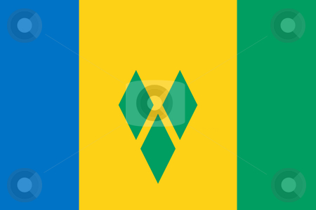 Saint Vincent and Grenadine stock photo, Sovereign state flag of country of Saint Vincent and Grenadine in official colors. by Martin Crowdy