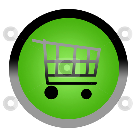 Shopping cart button stock photo, Green shopping cart or basket button isolated on white background with copy space. by Martin Crowdy