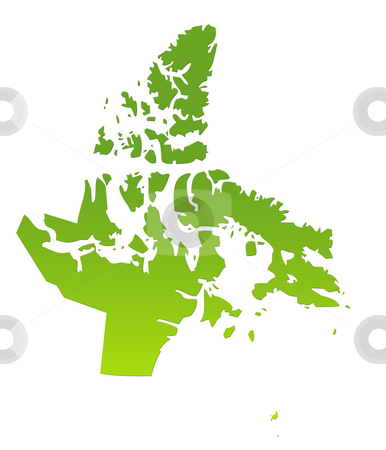 Nunavat map stock photo, Nunavat province of Canada map in gradient green, isolated on white background. by Martin Crowdy