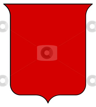 Blank red shield stock photo, Blank red shield or coat of arms isolated on white background with copy space. by Martin Crowdy