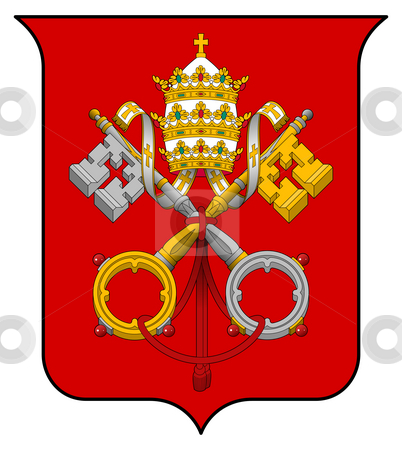 Vatican City Coat of Arms stock photo, Vatican City coat of arms, seal or national emblem, isolated on white background. by Martin Crowdy
