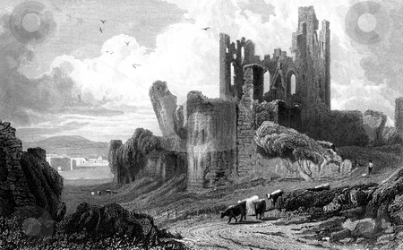 Caerphilly Castle stock photo, Black and white engraving of Caaerphilly Castle, Glamorganshire, Wales. Published by B.B Woodward in book,