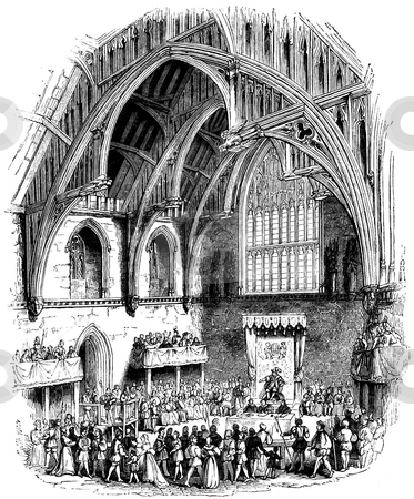 Westminster Hall stock photo, Interior of Westminster Hall, as seen during the Trial of Lambert, before Henry VIII, Westminster Palace, London. Engraving published book by Charles Knight,  by Martin Crowdy