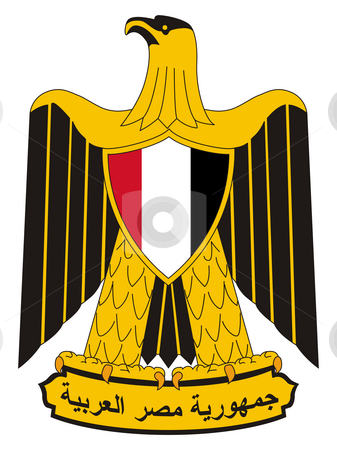 Egypt Coat of Arms stock photo, Egypt coat of arms, seal or national emblem, isolated on white background. by Martin Crowdy