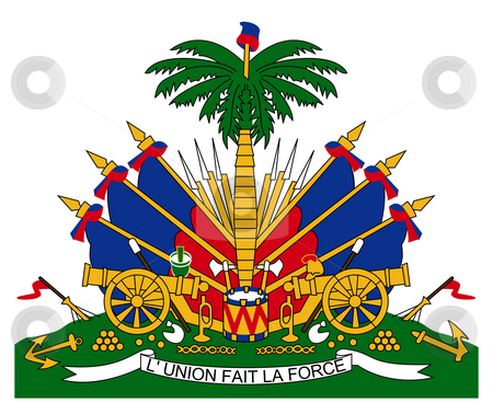 Haiti Coat of Arms stock photo, Haiti coat of arms, seal or national emblem, isolated on white background. by Martin Crowdy
