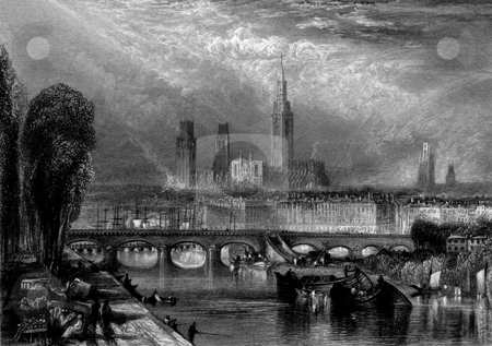 Rouen city and Seine river stock photo, Scenic view of Rouen city and cathedral with Seine river in foreground, Normandy, France. Engraved by William Miller in 1834, public domain image by virtue of age. by Martin Crowdy