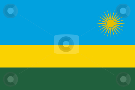 Rwanda Flag stock photo, Sovereign state flag of country of Rwanda in official colors. by Martin Crowdy