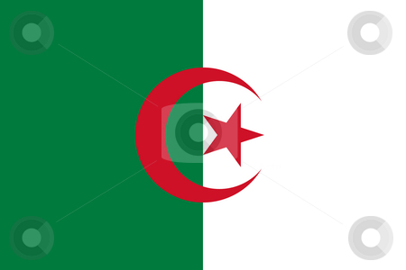 Algeria Flag stock photo, Sovereign state flag of country of Algeria in official colors. by Martin Crowdy