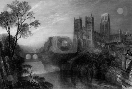 Durham Cathedral stock photo, Durham Cathedral with river Wear in foreground. Engraving by William Miller after J M W Turner, published in Picturesque Views in England and Wales, 1838. Puyblic domain image by virtue of age. by Martin Crowdy