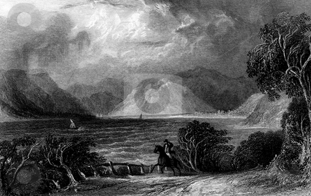 Lake Ullswater stock photo, Lake Ullswater viewed from Pooly Bridge, Lake District National Park, Cumbria, England. Engraved by William Miller in 1832. Public domain image by virtue of age. by Martin Crowdy
