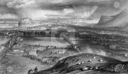 Edinburgh city and castle stock photo, Engraving of Edinburgh Castle and city viewed from Blackford. Engraved by William Miller in 1833. Public domain image by virtue of age. by Martin Crowdy