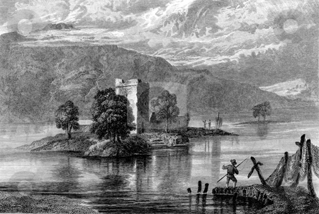 Loch Leven Castle stock photo, Enraving on Loch Leven castle, Perth and Kinross, Scotland. Engraved by William Miller after G F Sargent in 1832. by Martin Crowdy