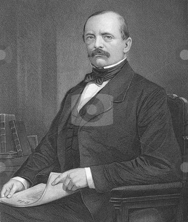 Otto Von Bismarck stock photo, Engraving of Prussian German statesman Otto von Bismarck. Published in book by Evert A. Duykinck,
